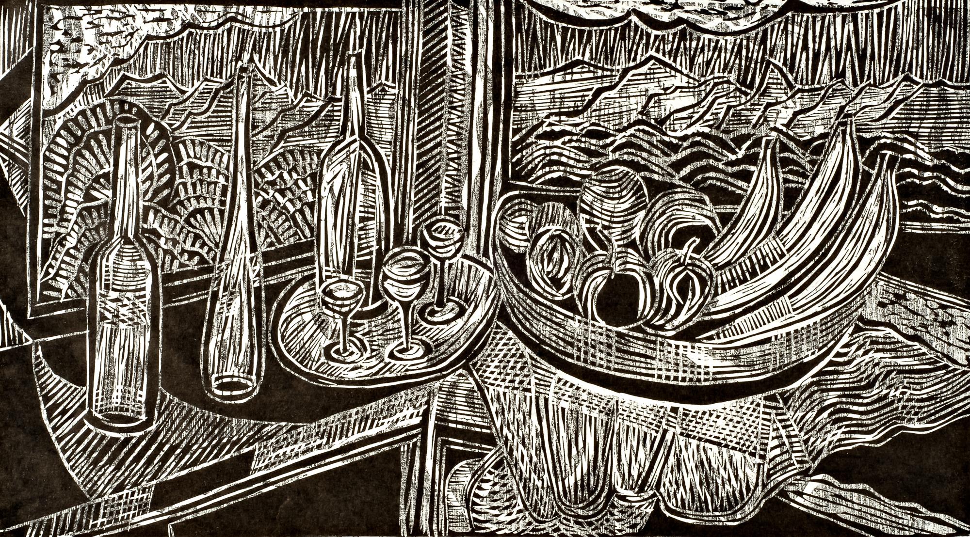 Corner Still Life, 11 ½ x 20 5/8, 1997