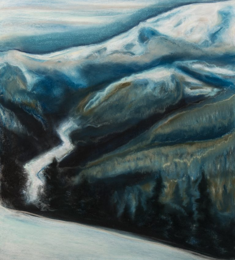 White River 24x22, pastel on paper