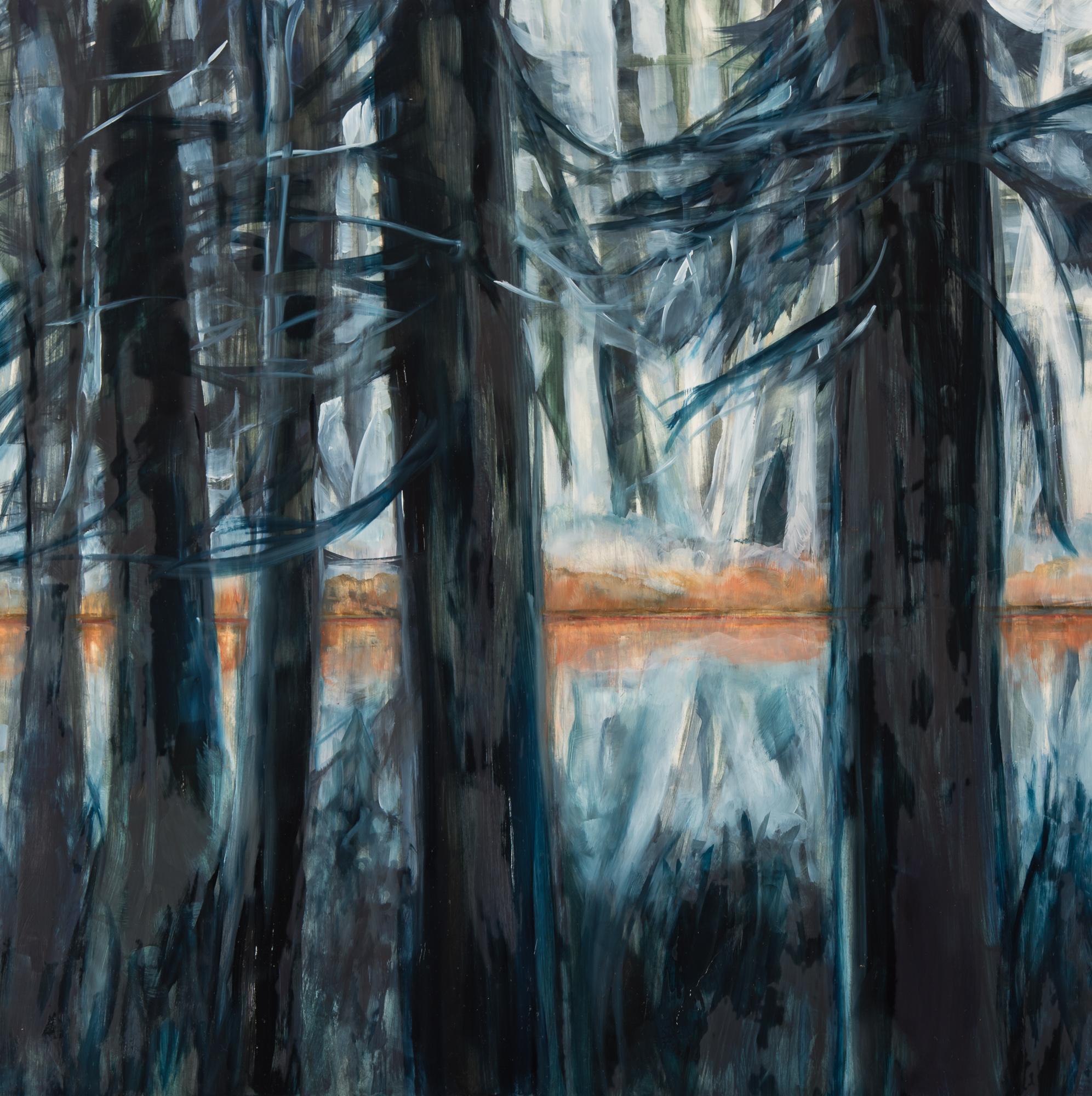 Pond 16 x 16, oil on panel