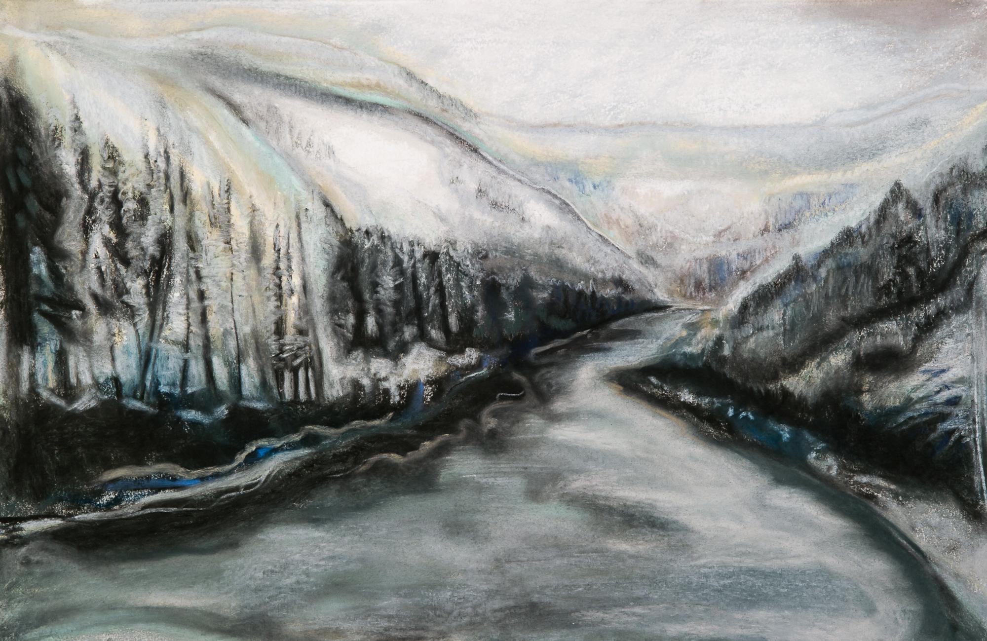 Creek in Winter 22x16½, pastel on paper