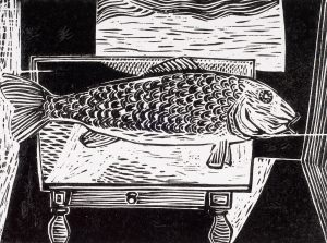 Fish on a Table, 9 x 12, 1950