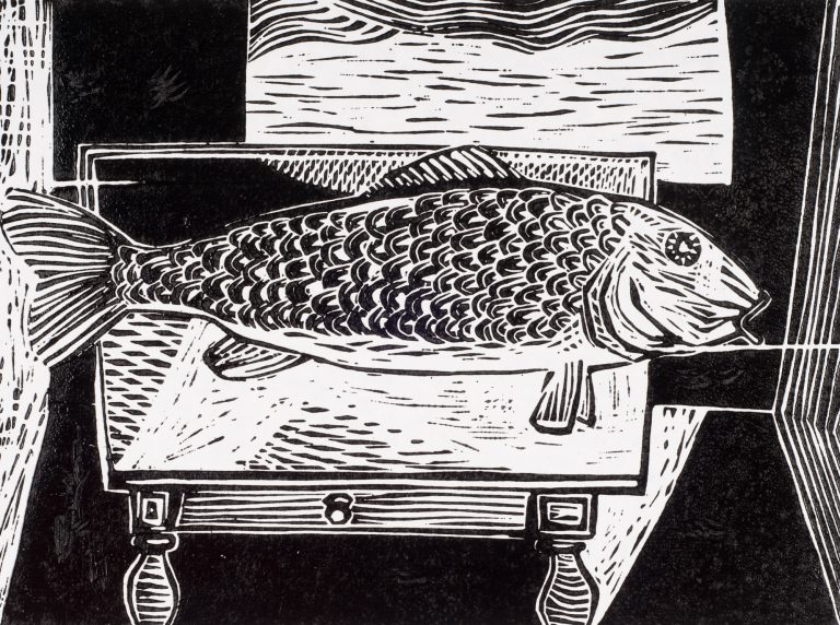 Fish on a Table 9 x 12, 1950