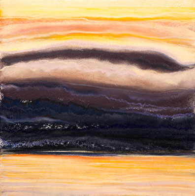 The Golden Lake 11½x11½, pastel on paper