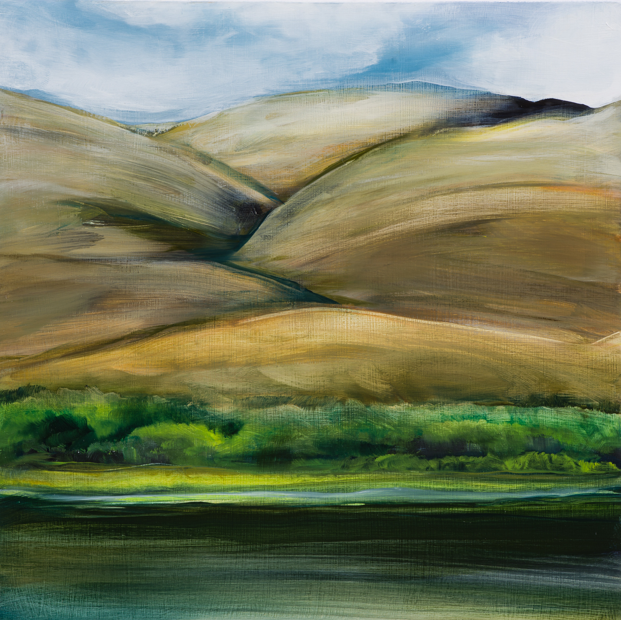 Verdant River, 8x8, oil on panel